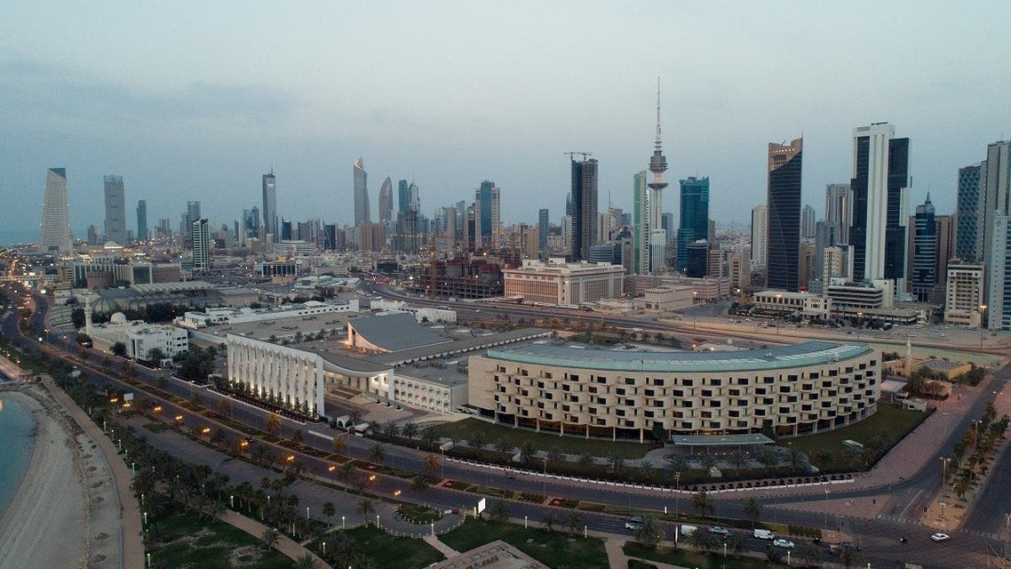An aerial view shows Kuwait City and the National Assembly Building, after the country entered virtual lockdown, as a preventive measure against coronavirus disease in Kuwait City. (Reuters)