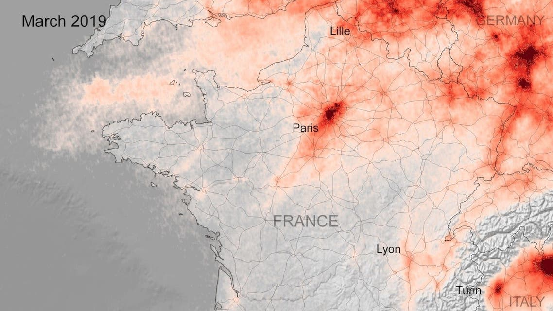 Data from the Copernicus Sentinel-5P satellite, shows the average nitrogen dioxide concentrations from 14 to 25 March 2020, compared to the monthly average concentrations from 2019. (European Space Agency)