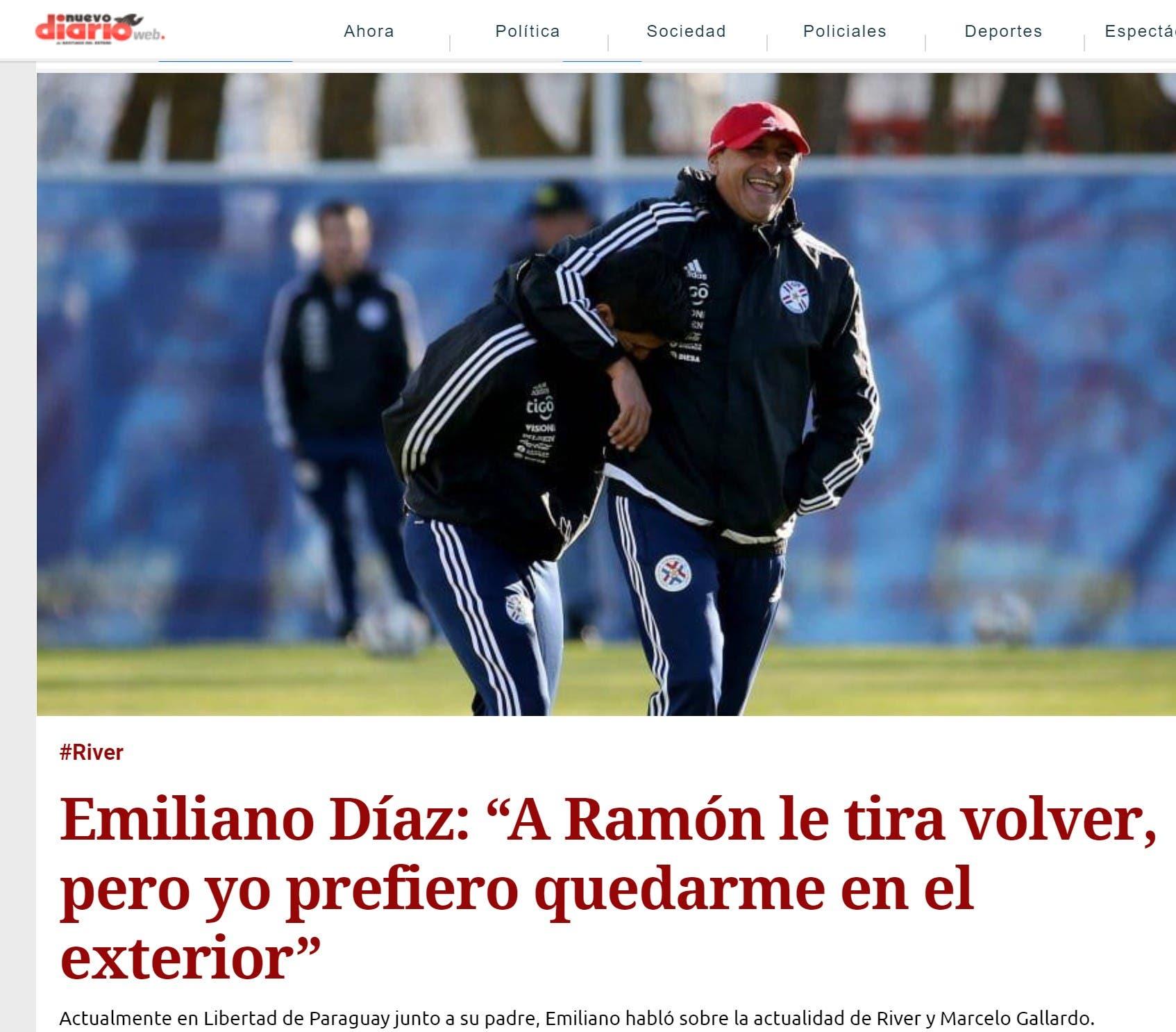 تصريحات إيميليانو في الصحيفة الأرجنتينية