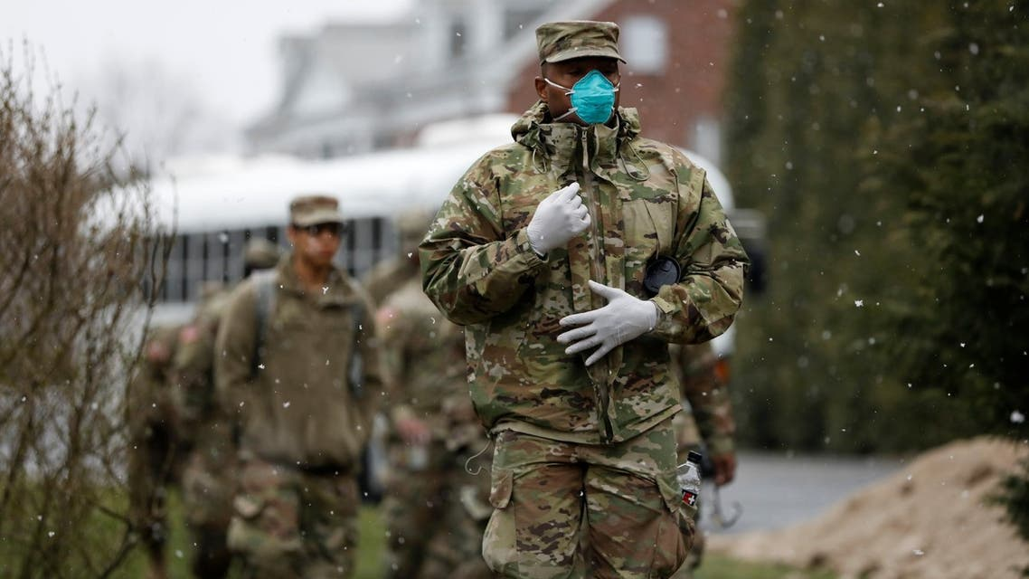 Members of Joint Task Force 2, composed of soldiers and airmen from the New York Army and Air National Guard, in New York, US, March 23, 2020. (Reuters)