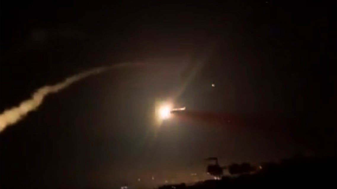 This frame grab from a video provided by the Syrian official news agency SANA shows missiles flying into the sky near Damascus, Syria, Tuesday, Dec. 25, 2018.  (File photo: AP)