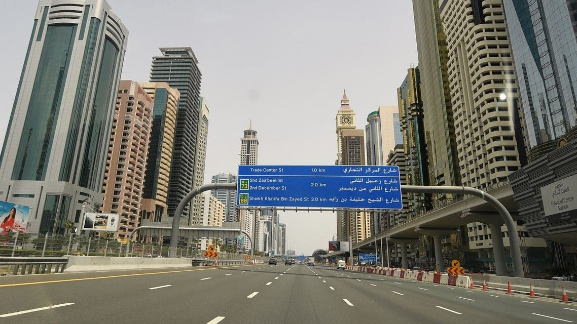The empty Sheikh Zayed street in Dubai is pictured on March 27, 2020 amid the COVID-19 coronavirus pandemic. (AFP)