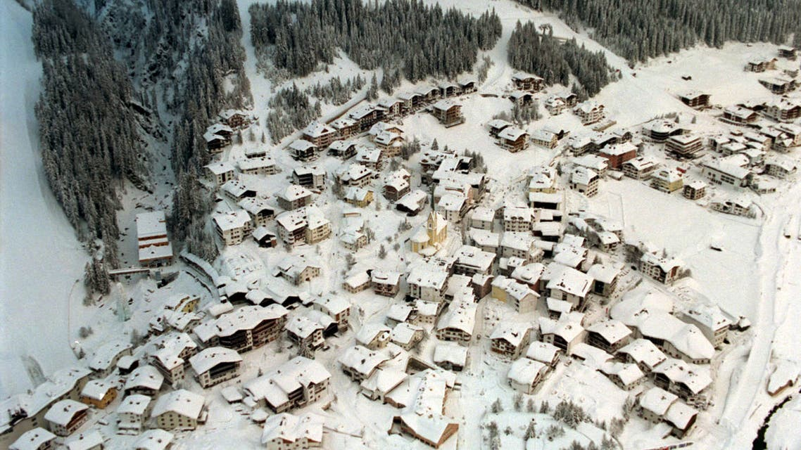 An aerial view of the Austrian ski resort of Ischgl in Tyrol's Paznaun valley February 25. Over 30 people were killed and several still missing when a massive avalanche hit the centre of the nearby village of Galtuer on Tuesday. Military helicopters from Austria, the United States and Germany are evacuating the valley which has been cut off for a week by the heaviest snowfall in decades. HP/FMS