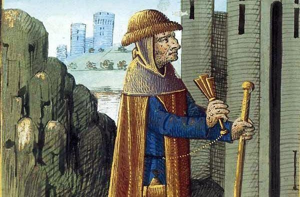 صورة تجسد رجلا مصابا بالجذام بالعصور الوسطى