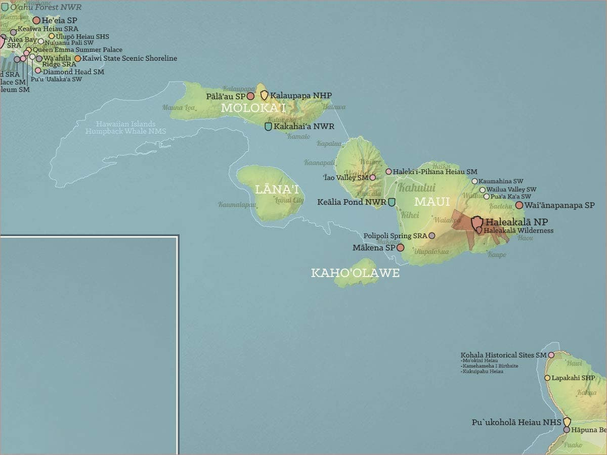 خريطة تبرز جزيرة مولوكاي بأرخبيل هاواي