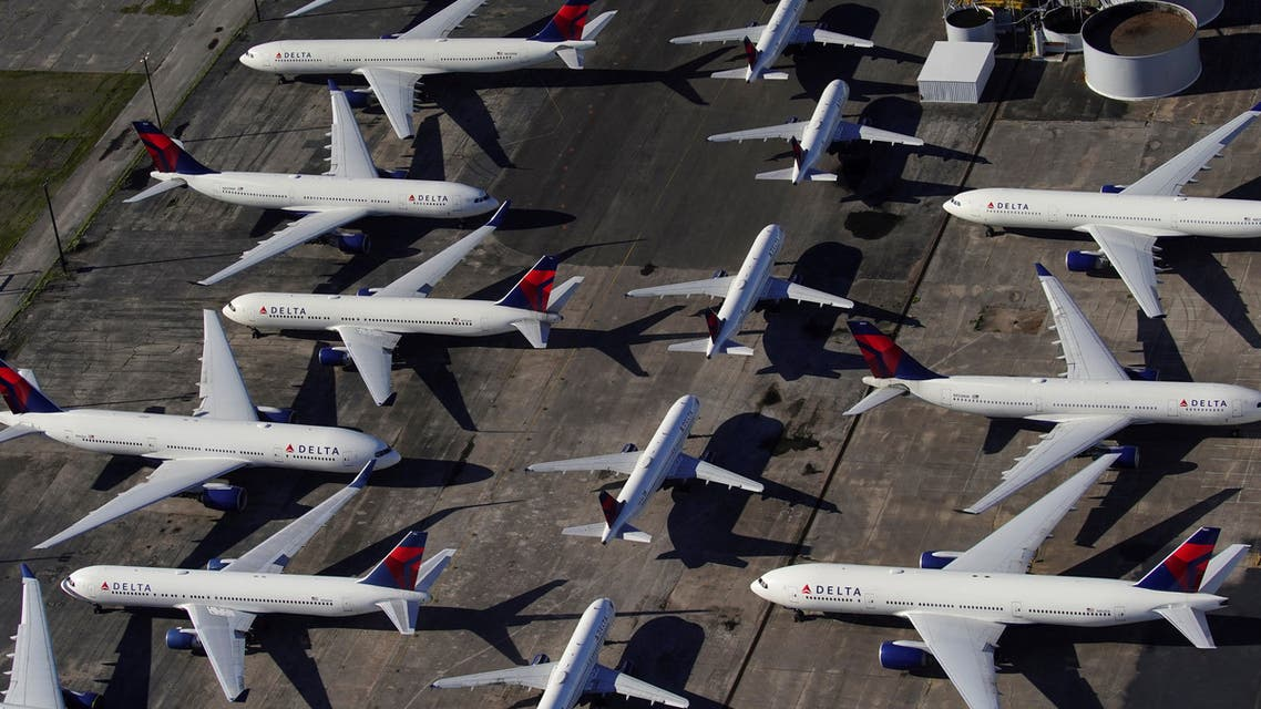 Delta Air Lines passenger planes parked at Birmingham-Shuttlesworth ternational Airport in Alabama, US, due to the coronavirus pInandemic. (File photo: Reuters)