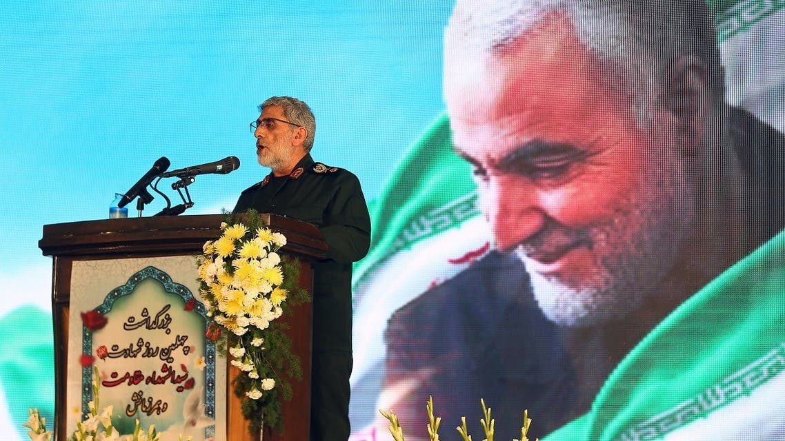 Brigadier General Esmail Ghaani, the newly appointed commander of Iran's Quds Force, reads the will of Major General Qassem Soleimani during the forty day memorial at the Grand Mosalla in Tehran. (Reuters)