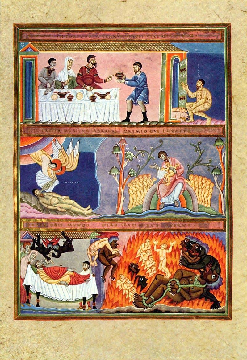 رسم تخيلي لقصة لعازر والغني التي جاءت بإنجيل لوقا