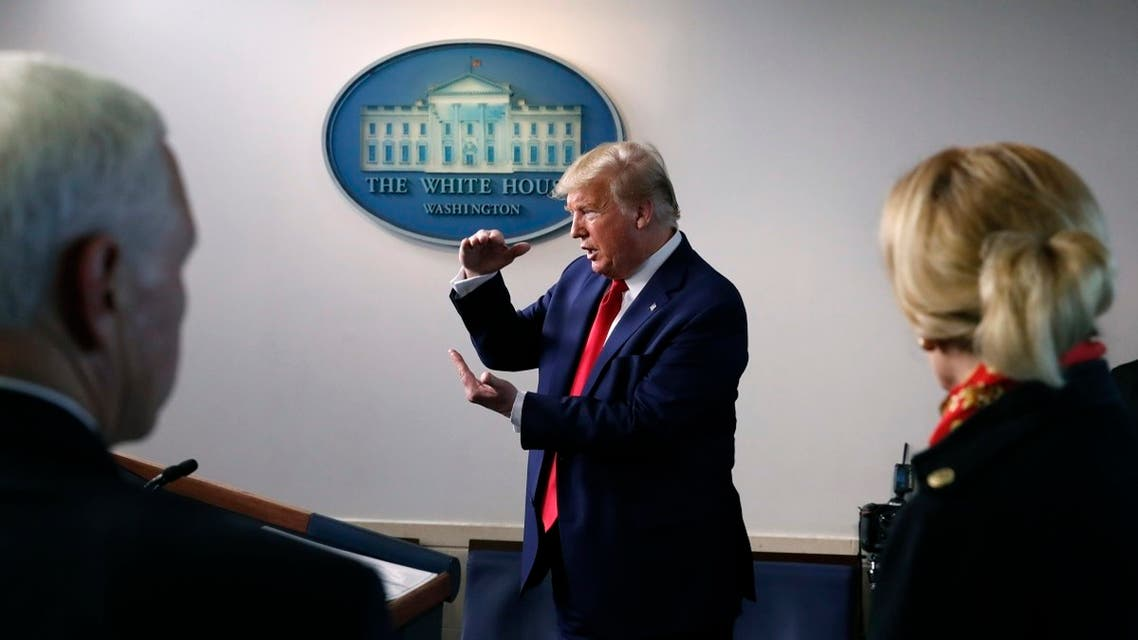 President Donald Trump speaks about the coronavirus in the James Brady Press Briefing Room of the White House. (AP)