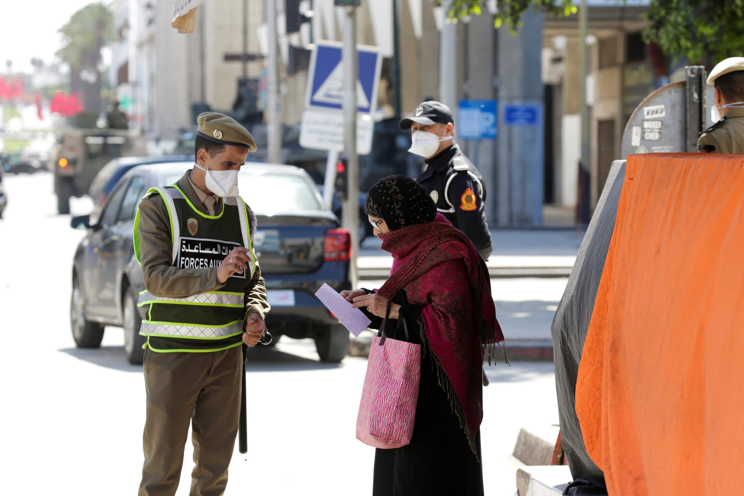 Police and army officers patrol streets following the coronavirus outbreak in Rabat, Morocco. (Reuters)
