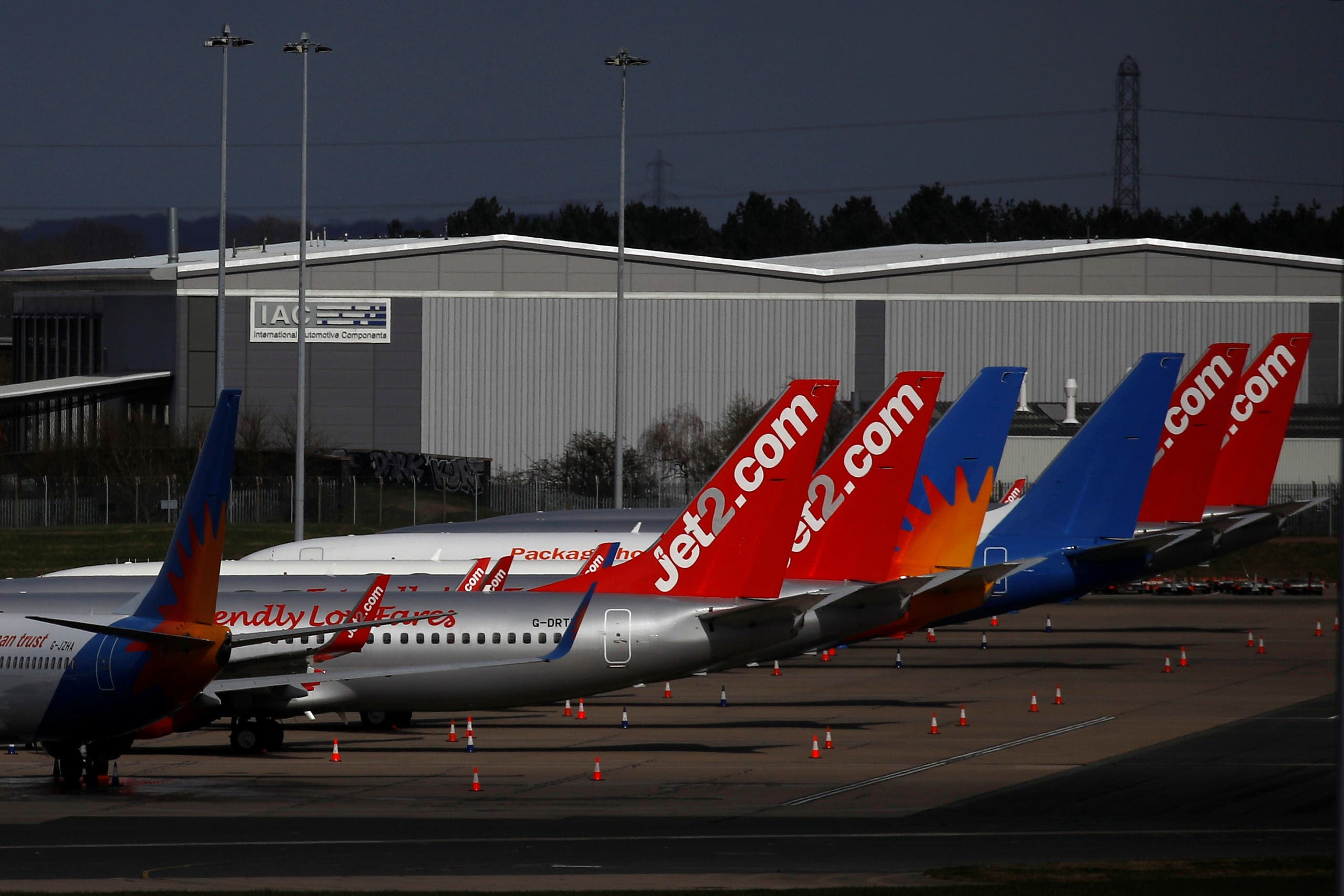 Jet2 planes seen grounded at Birmingham airport, UK, due to the coronavirus pandemic. (File photo: Reuters)