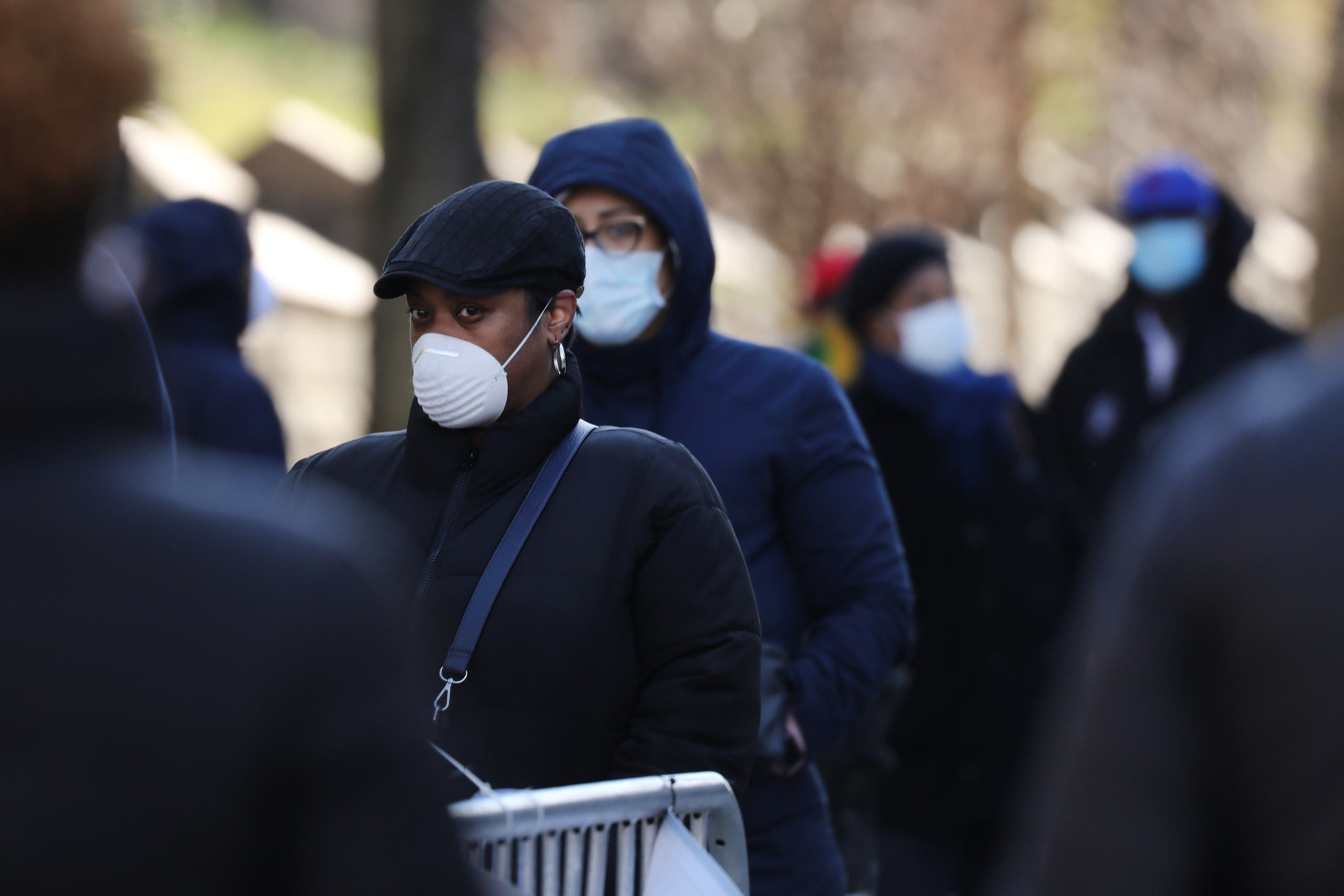 People wait to be tested for the COVID-19 outside of Brooklyn General Hospital on April 01, 2020 in New York City. (AFP)