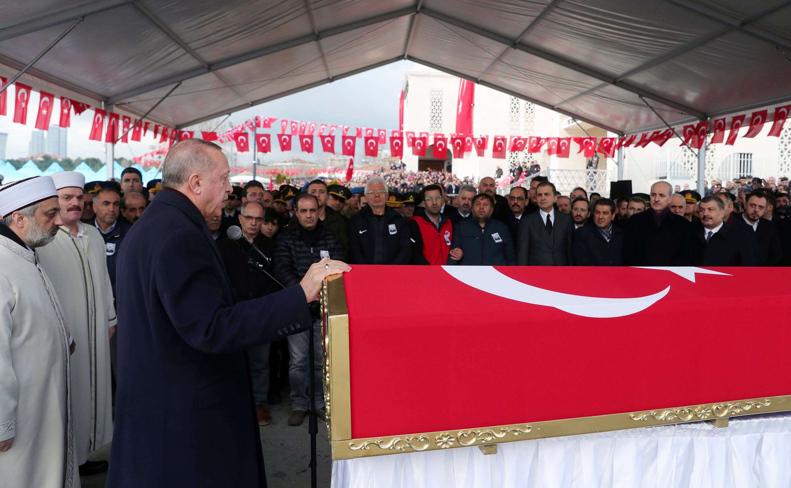 Turkey's President Recep Tayyip Erdogan speaks during funeral prayers for Emre Baysal, one the 36 Turkish soldiers killed on Thursday in a Syrian army attack in the Idlib area of Syria, in Istanbul on Feb. 29, 2020. (AP)