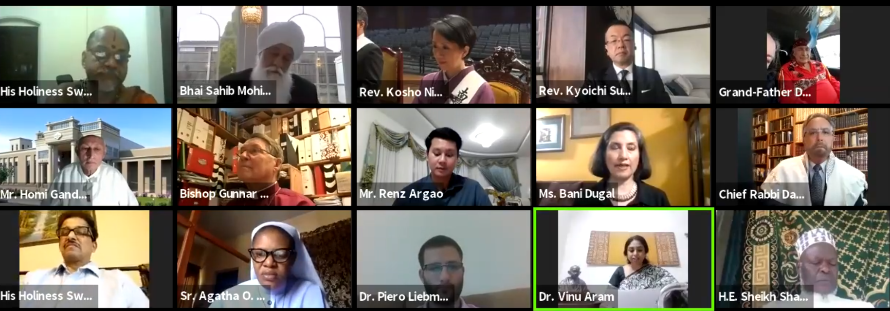 A virtual interfaith meeting held by Religions for Peace International. (Facebook)