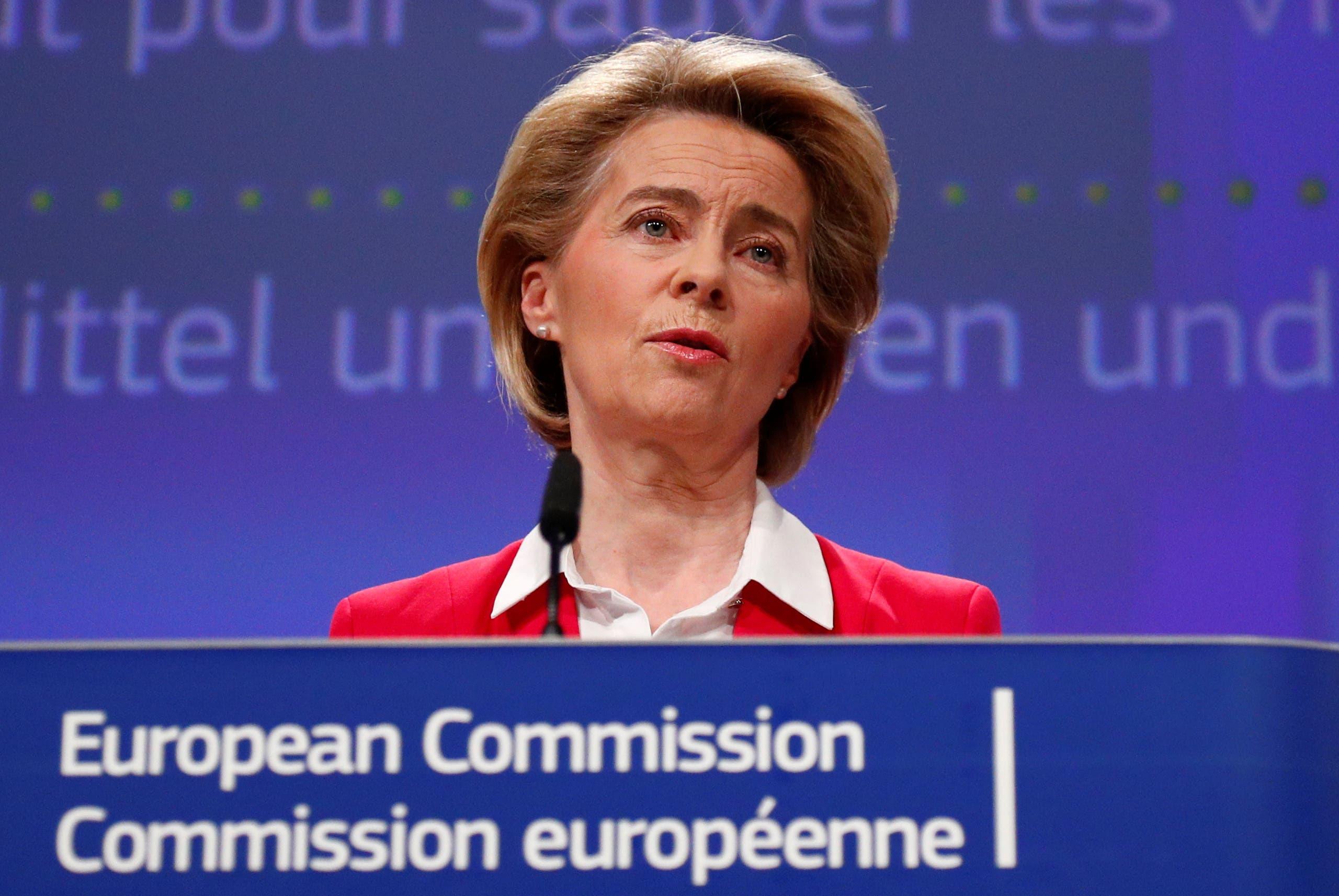 رئيسة المفوضية الأوروبية أورسولا فون دير لاين خلال مؤتمر صحفي اليوم في بروكسل