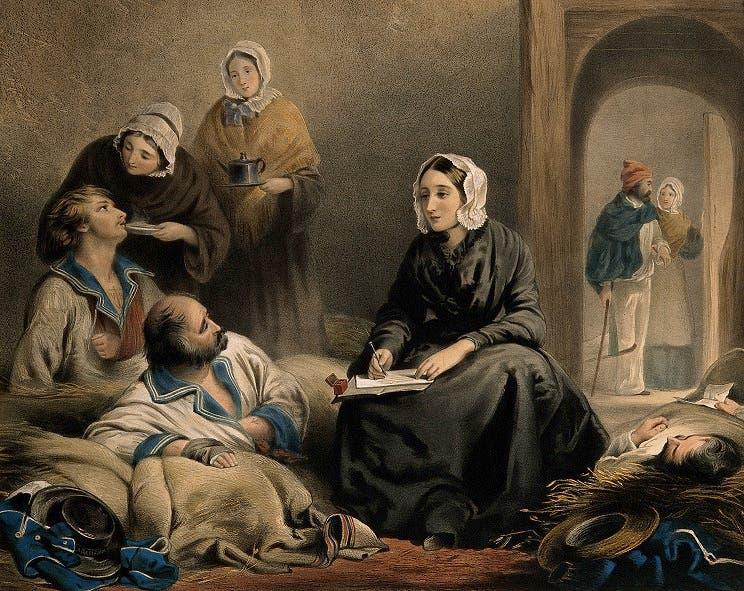 لوحة تجسد فلورنس نايتينغل أثناء مساعدتها للجرحى على كتابة رسائل لعائلاتهم