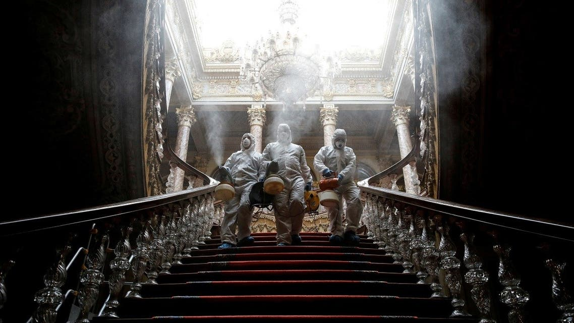 Workers in protective suits disinfect Dolmabahce Palace due to coronavirus concerns in Istanbul. (File photo: Reuters)