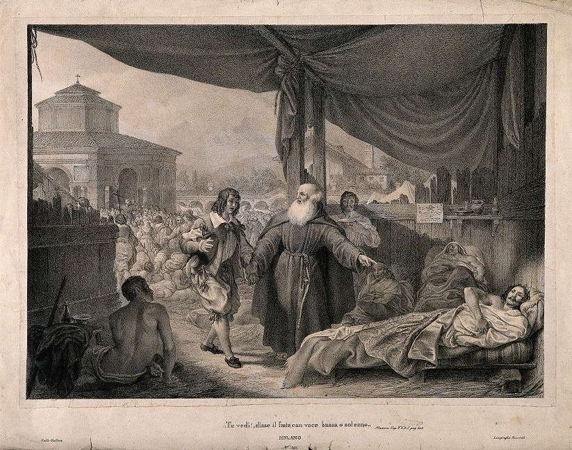 لوحة تجسد راهباً أثناء زيارته لضحايا الوباء بميلانو عام 1630