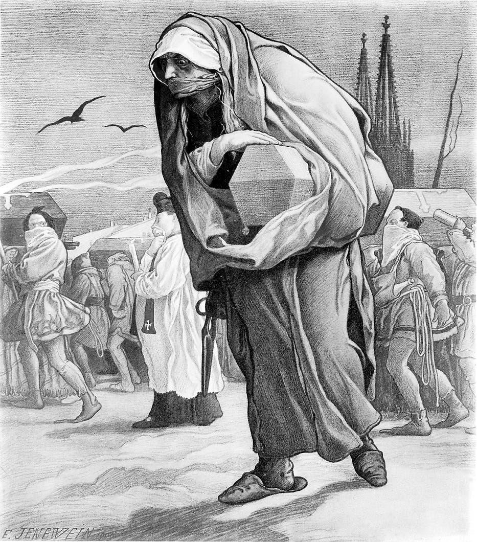 رسم تخيلي يجسد عملية نقل جثث عدد من ضحايا الطاعون