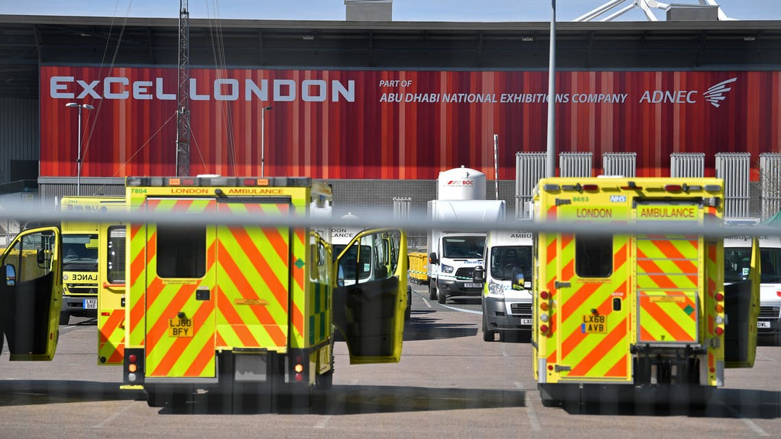 Ambulances seen parked outside the ExCeL London exhibition center which has been transformed into an NHS field hospital amid the coronavirus pandemic. (File photo: AFP)