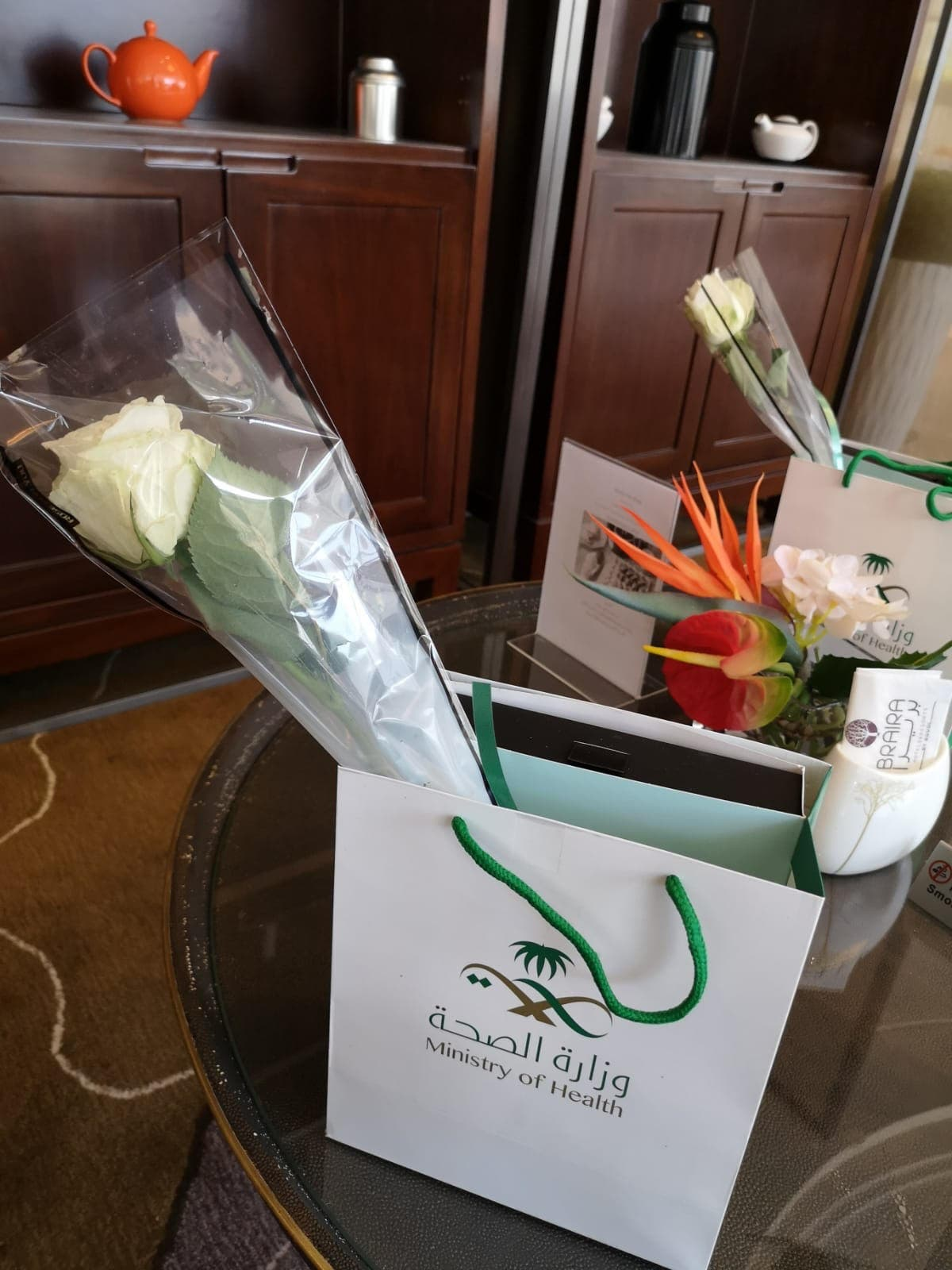 Gift bags from the Saudi Arabia Ministry of Health. (Layan Damanhouri)