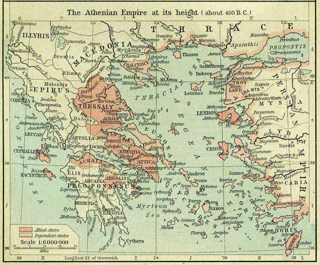 أثينا والمناطق الخاضعة لنفوذها عام 450 قبل الميلاد