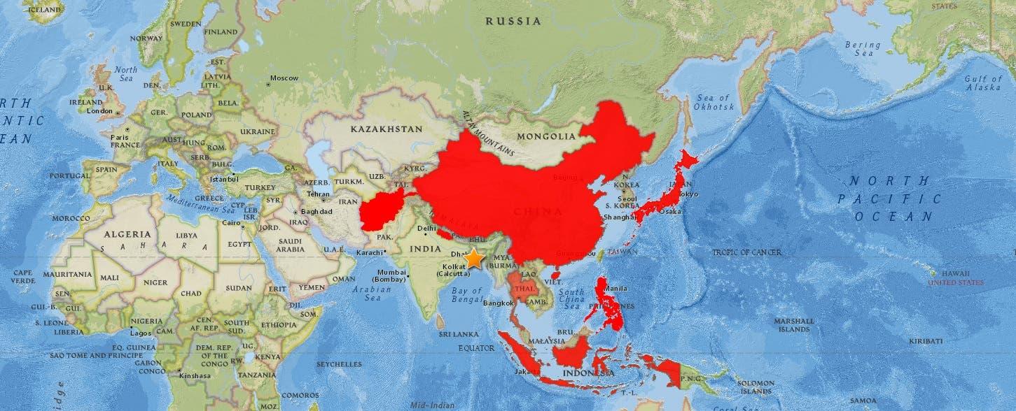 خريطة تجسد بعض المناطق التي بلغتها موجة الكوليرا الأولى