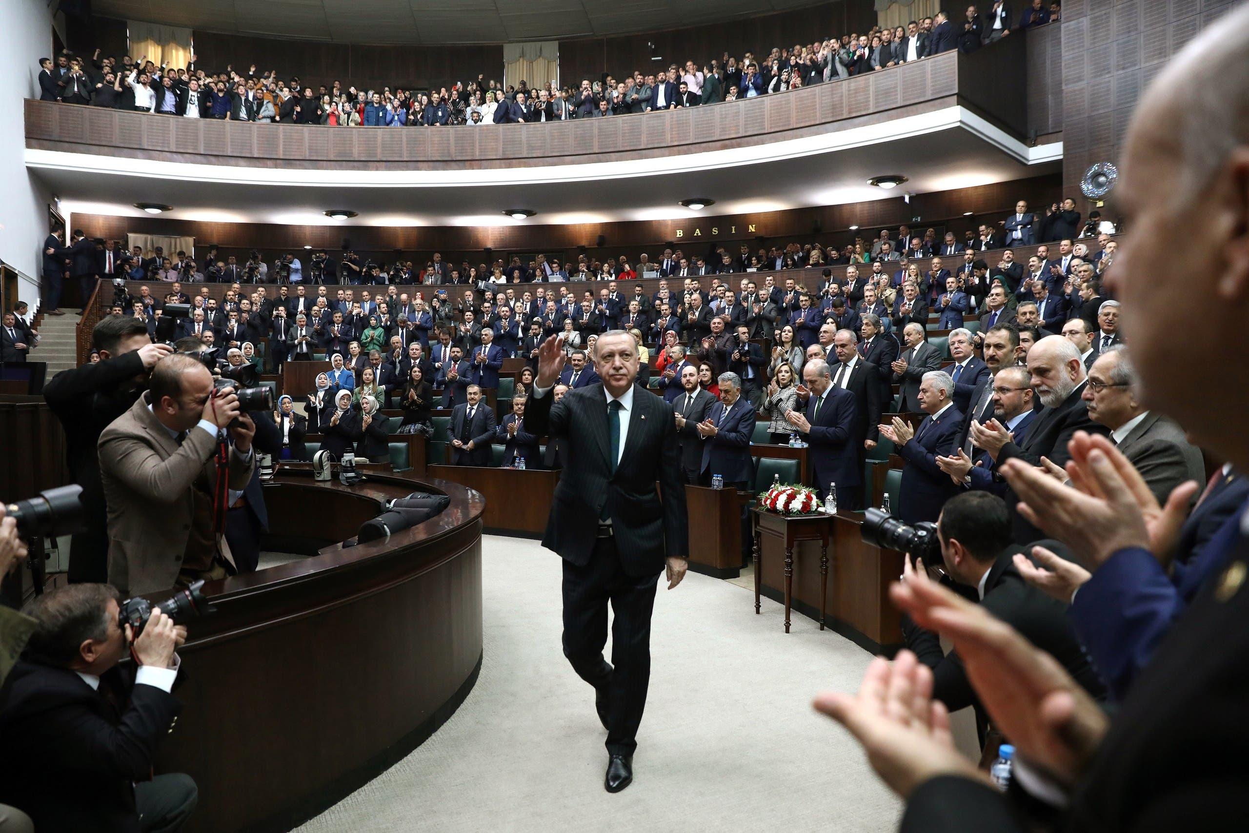 أردوغان في البرلمان التركي (أرشيفية- فرانس برس)
