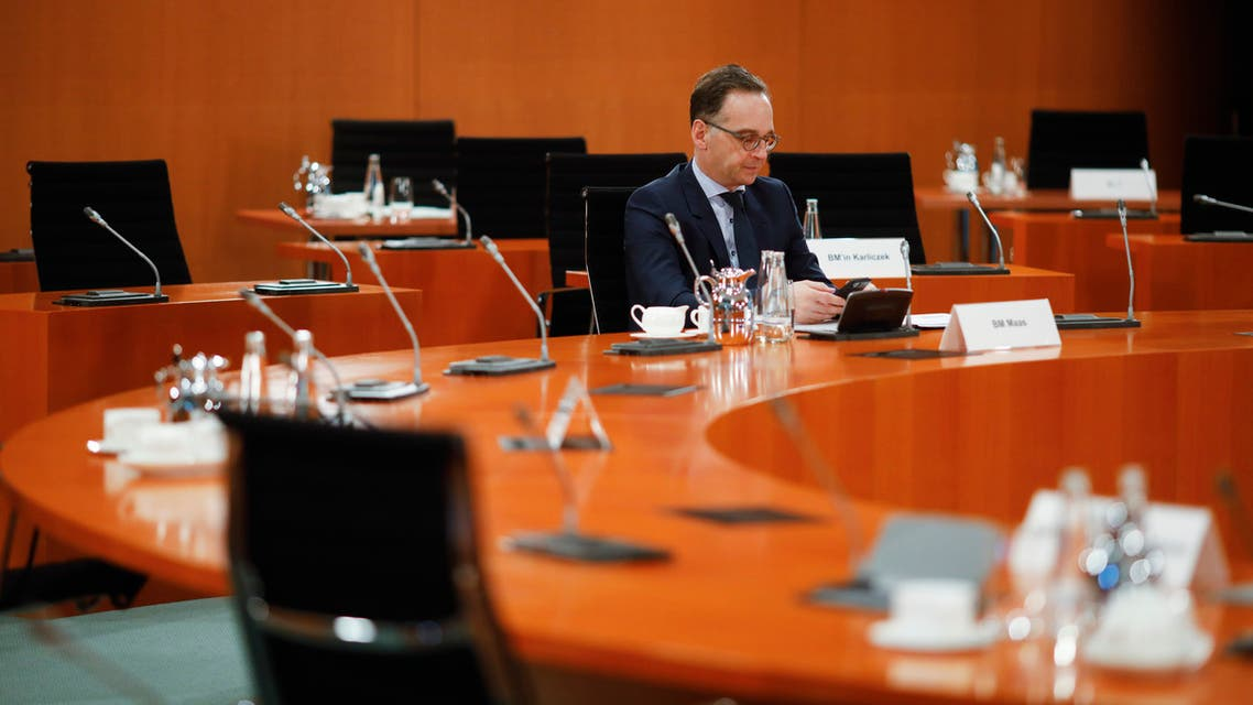 German Foreign Minister Heiko Maas waits for the beginning of the weekly cabinet meeting of the German government at the chancellery in Berlin, Germany on April 8, 2020. (AP)