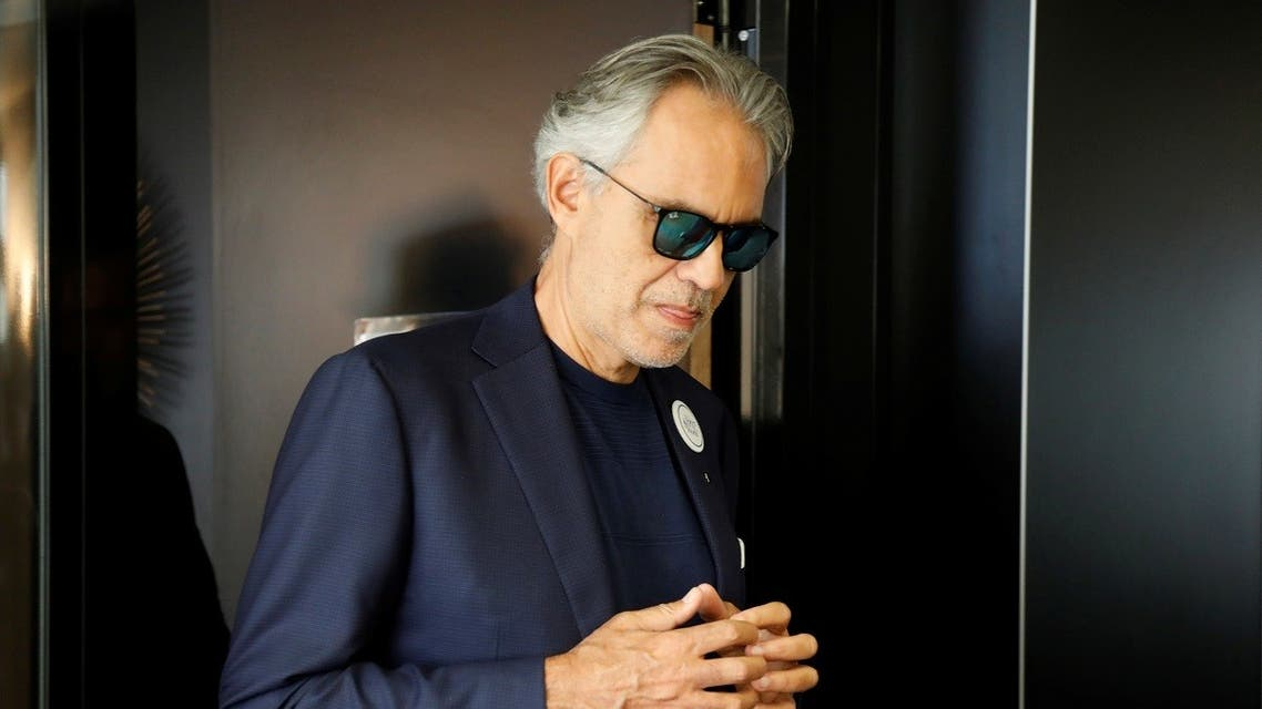 Italian opera singer Andrea Bocelli leaves after a news conference about his work with UNESCO programme Voices of the World in Paris. (Reuters)