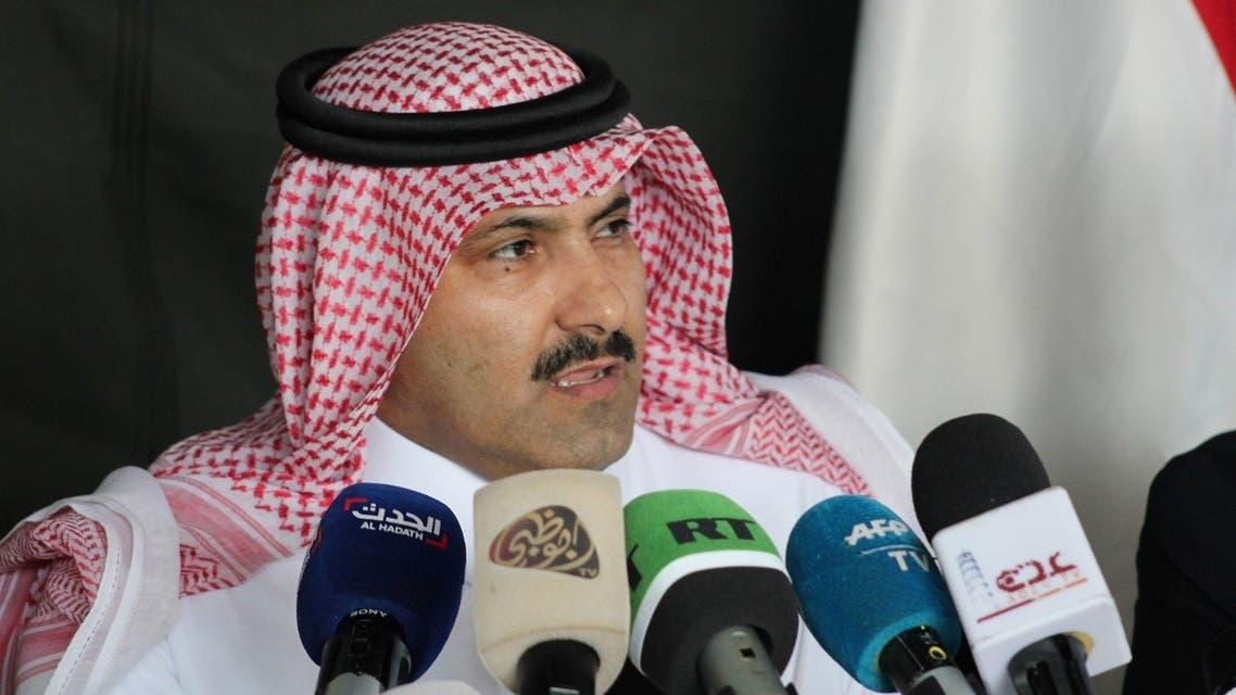 Saudi ambassador to Yemen Mohammed Said Al-Jaber addresses the media. (File photo: AFP)
