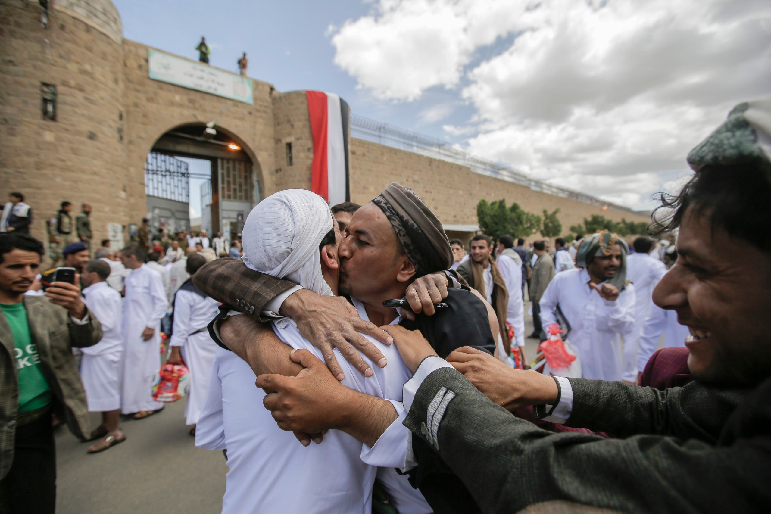 A Yemeni detainee is greeted by his relative and friends after his release from a prison controlled by Houthi rebels, in Sanaa, Yemen on Sept. 30, 2019. (AP)
