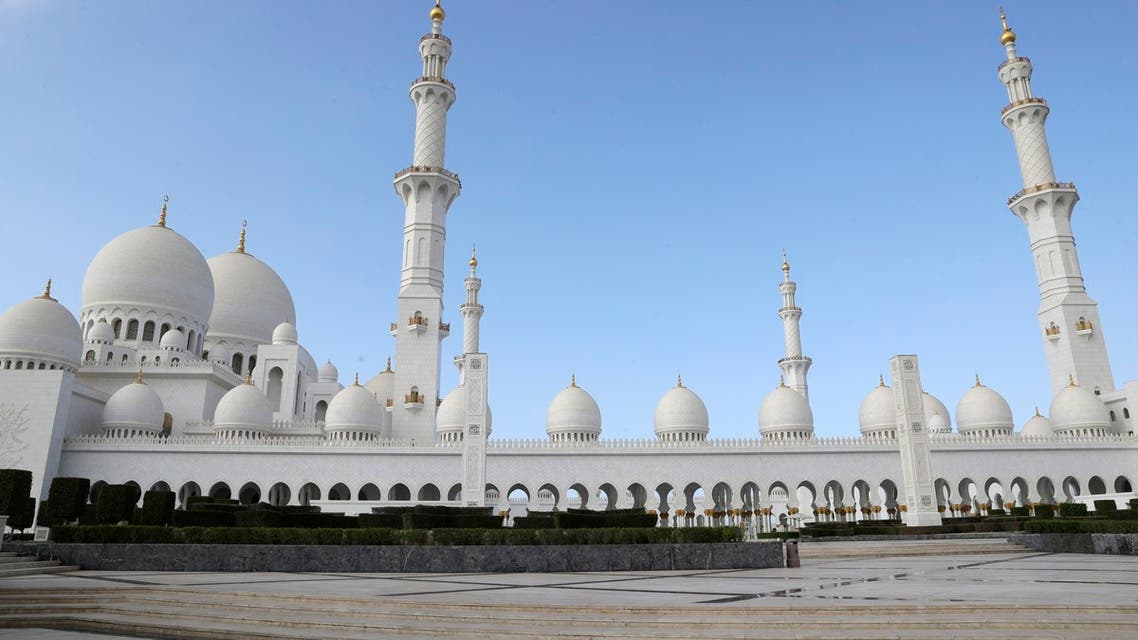 A view of the Grand Mosque in Abu Dhabi, United Arab Emirates, Monday, Feb. 4, 2019. (AP)