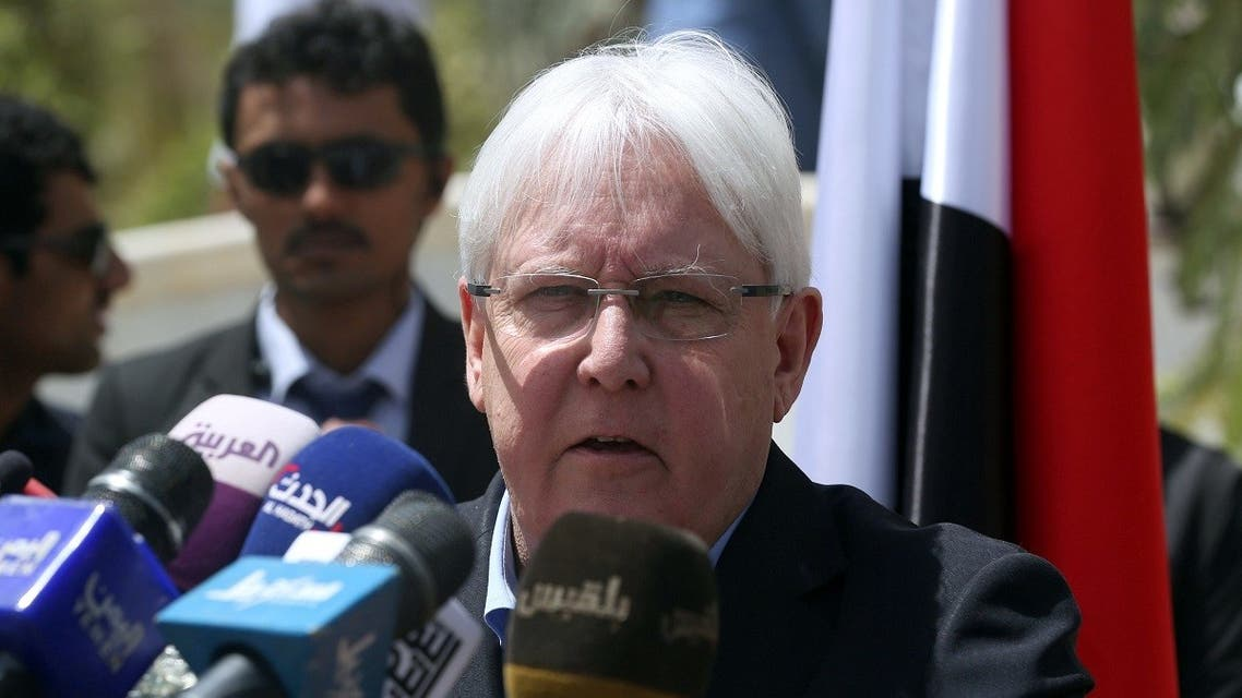 United Nations Special Envoy to Yemen Martin Griffiths, speaks during news conference, in Marib, Yemen. (Reuters)