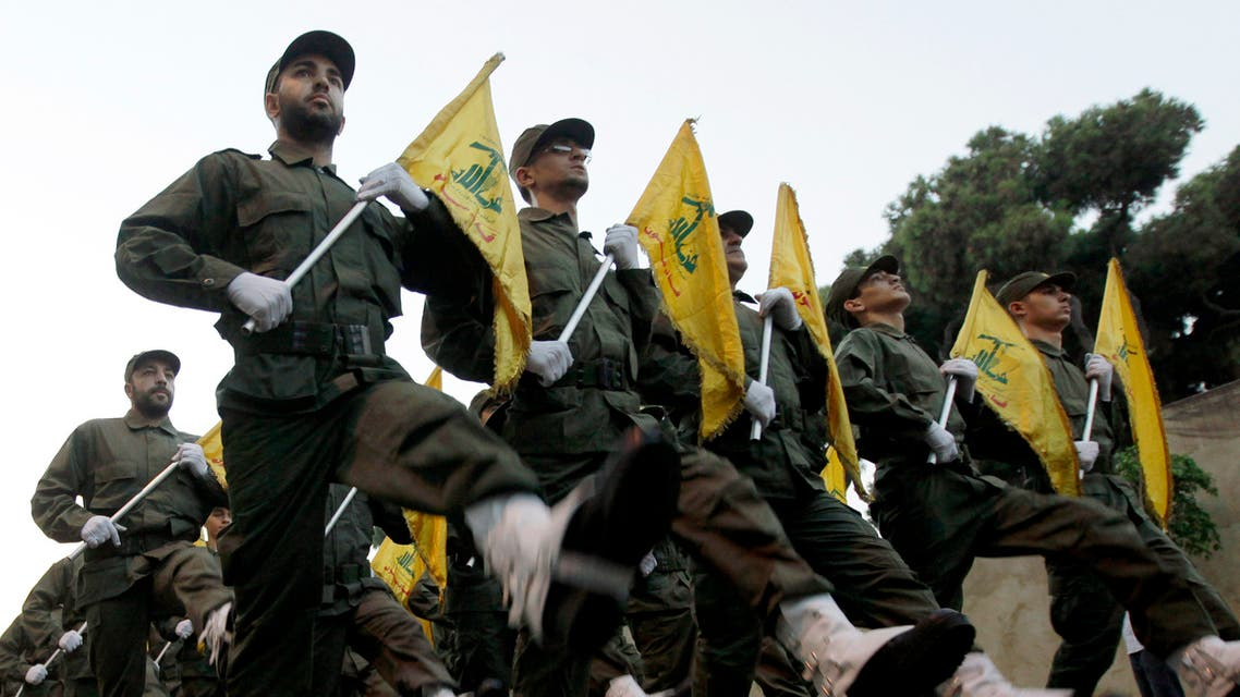 Hezbollah fighters during the inauguration of a new cemetery for their fighters who died in fighting against Israel. (File Photo: AP)