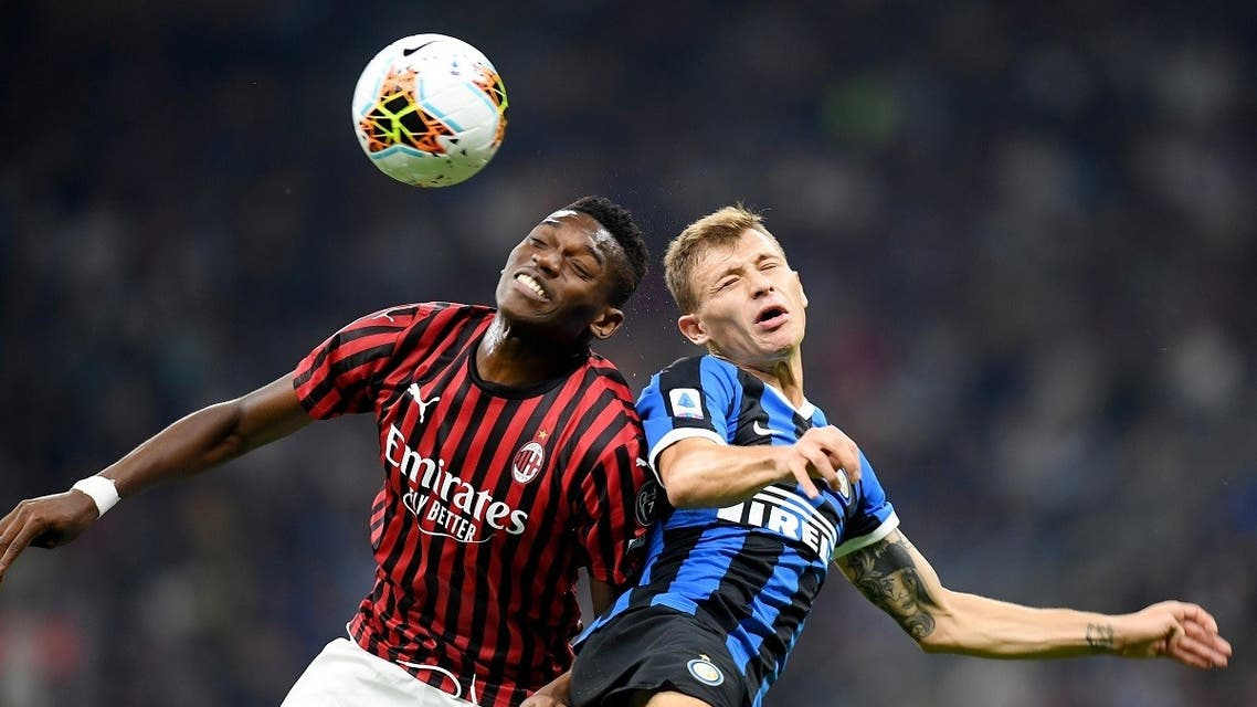 AC Milan's Rafael Leao in action with Inter Milan's Nicolo Barella during a game last September. (Reuters)
