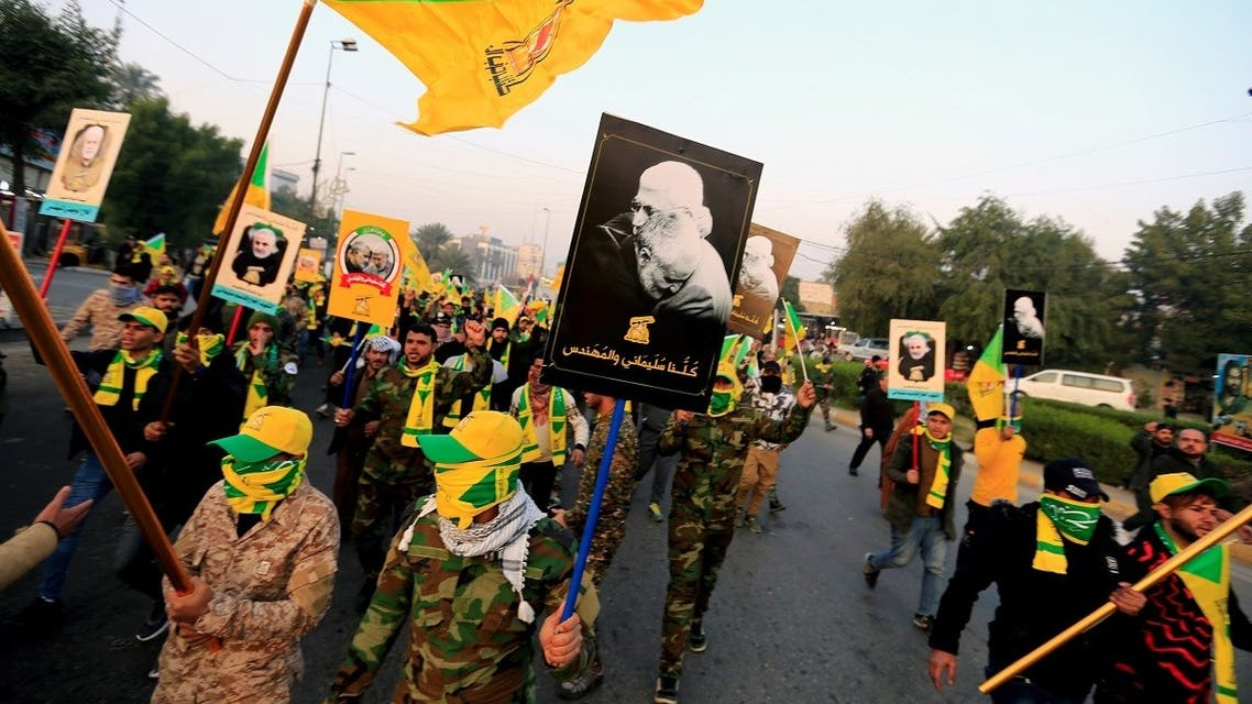 Kataib Hezbollah Iraqi militia gather ahead of the funeral of the Iraqi militia commander Abu Mahdi al-Muhandis, who was killed in an air strike at Baghdad airport, in Baghdad, Iraq, January 4, 2020.  (Reuters)