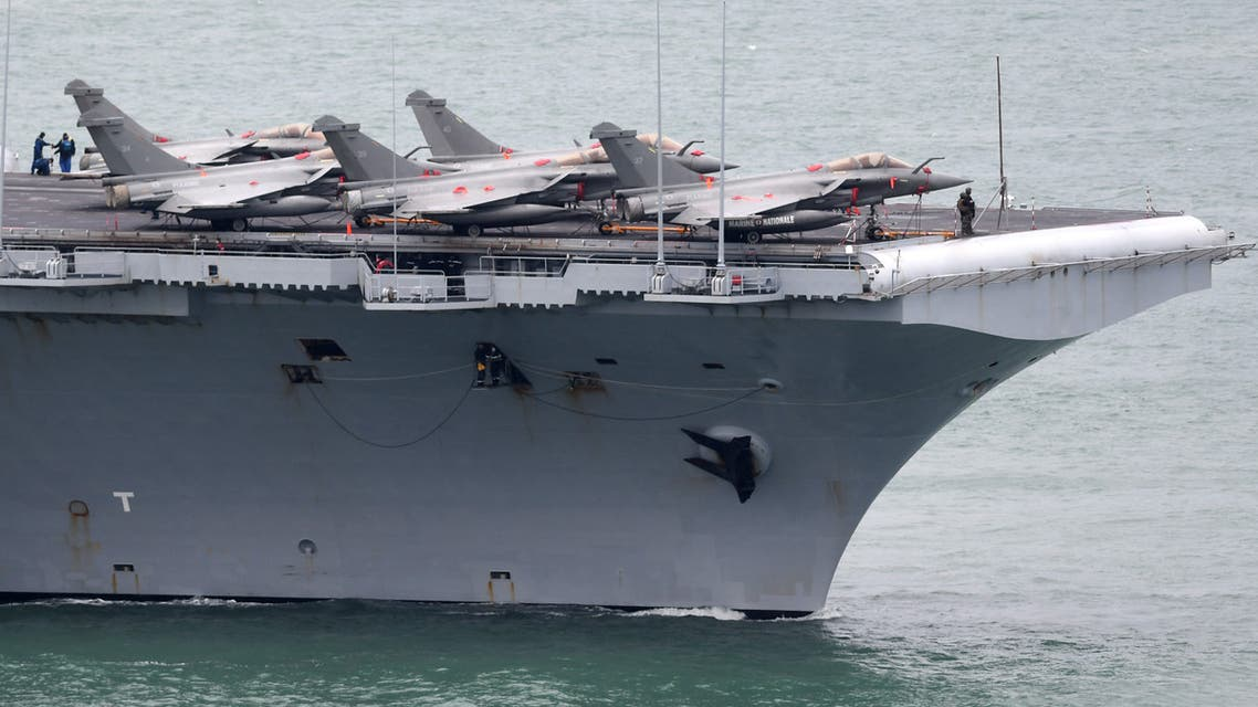 French aircraft carrier Charles de Gaulle as it enters the port of Brest, in western France. (AFP)