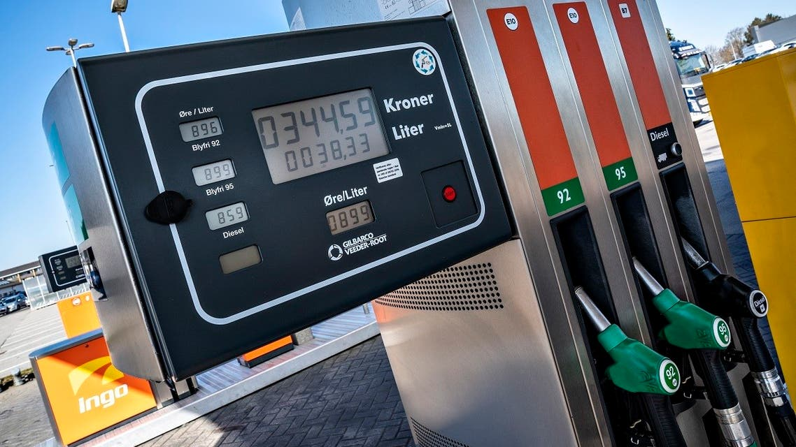 A picture taken on March 26, 2020 shows a view of an Ingo low-cost gas station in Aalborg, as the price of Octan 95 unleaded droped below 9.00 danish kroner (1.22 euro). (File photo: AFP)
