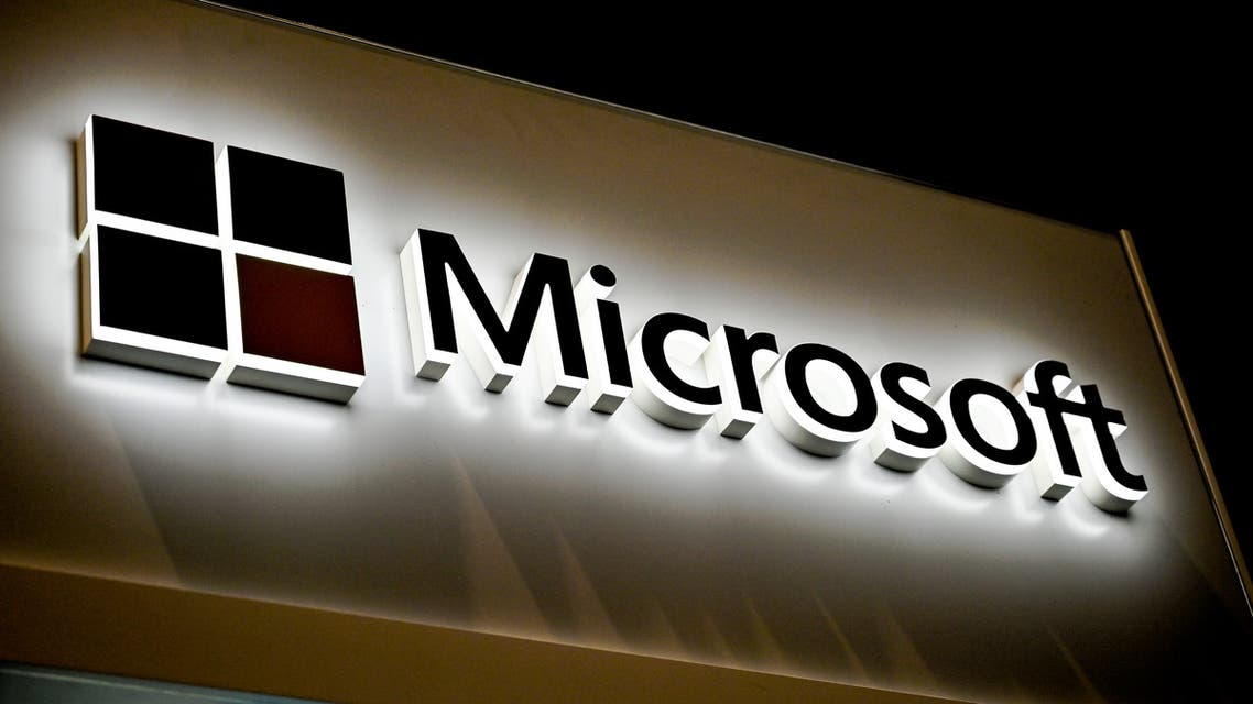 This picture shows the Microsoft logo at the International Cybersecurity Forum (FIC) in Lille on January 28, 2020. (AFP)