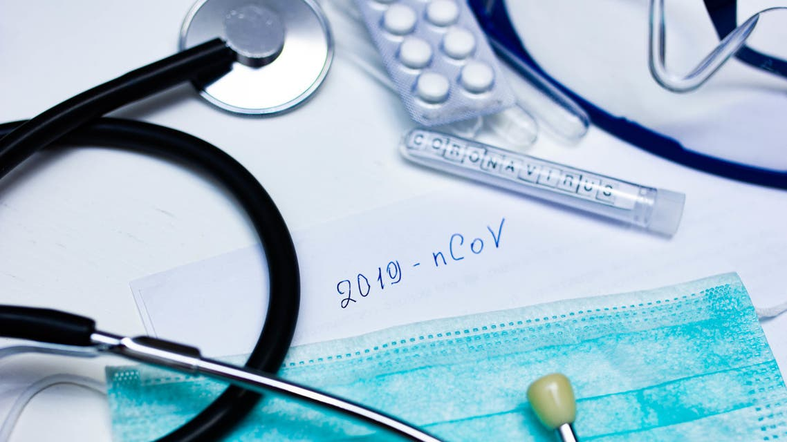 "Disease epidemic New coronavirus ""2019-nCoV"", handwritten text. stock photo"