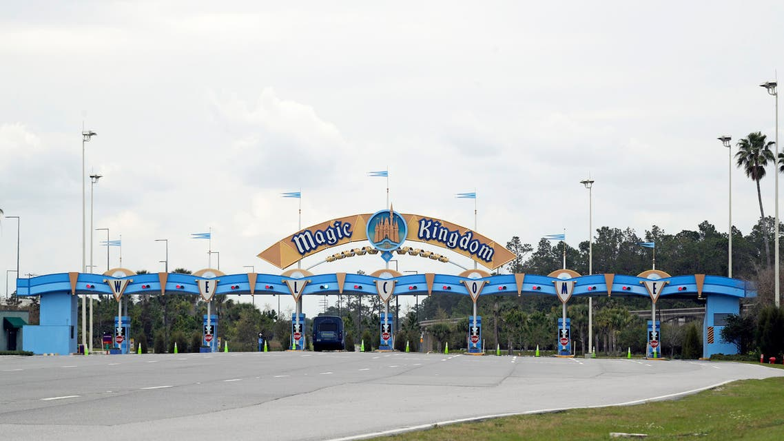 The entrance to the parking lot at the Magic Kingdom at Walt Disney World is closed Monday, March 16, 2020, in Lake Buena Vista, Fla. (AP)