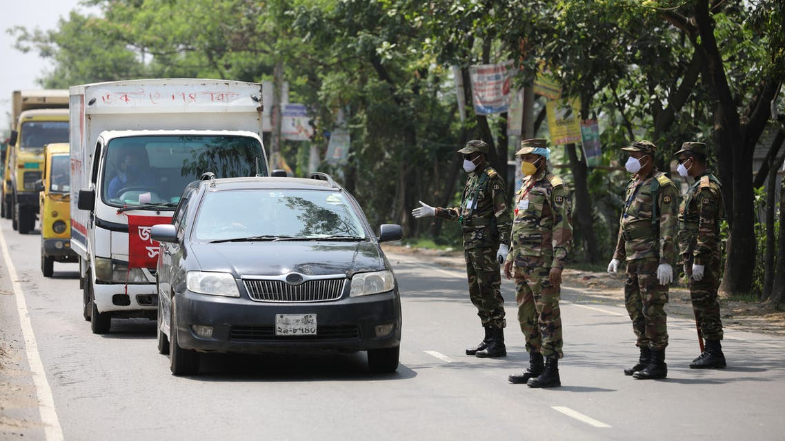 Army stops vehicles at a check post during the government imposed countrywide shutdown amid concerns over the coronavirus disease (COVID-19) outbreak in Narayanganj. (Reuters)