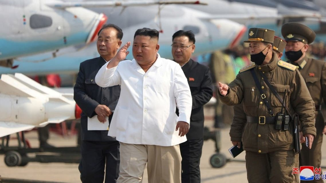 North Korean leader Kim Jong Un visits to a pursuit assault plane group under the Air and Anti-Aircraft Division in the western area. (Reuters)
