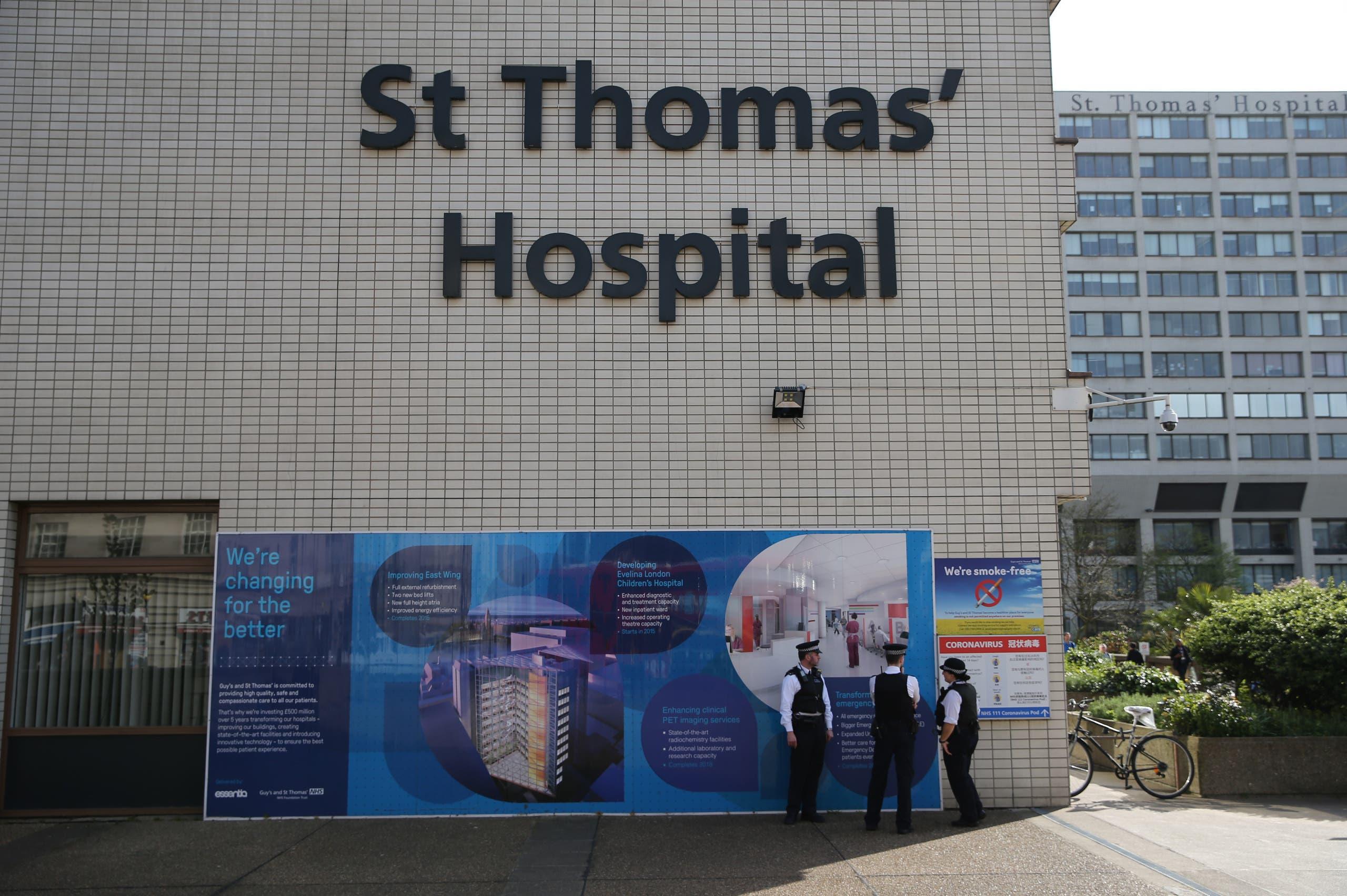 مستشفى سانت توماس حيث يمضي بوريس فترة علاجه(فرانس برس)
