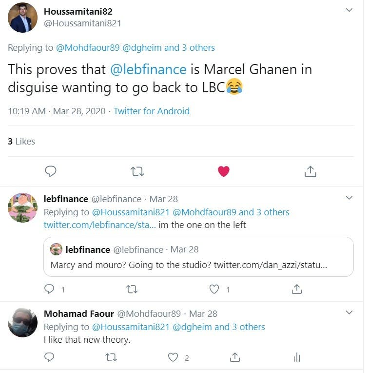 Twitter uses try to guess who is behind the lebfinance account, joking that the person might be Marcel Ghanem, the host of a popular Lebanese TV news program. (Screengrab)