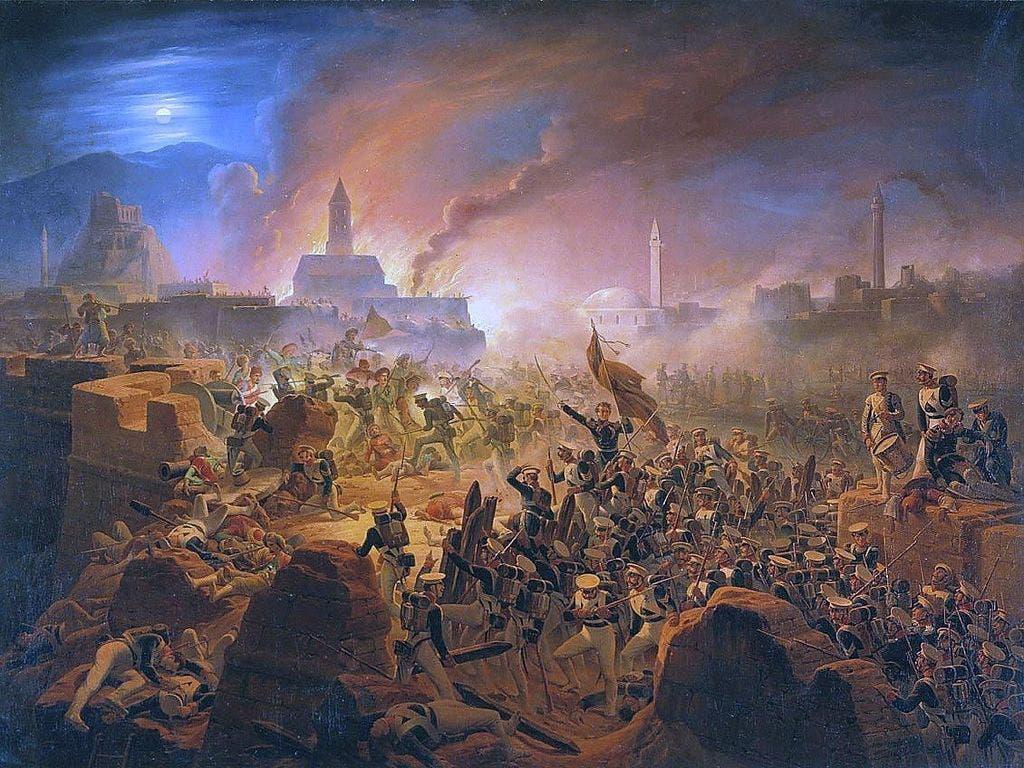 لوحة تجسد إحدى المعارك بالحرب الروسية التركية