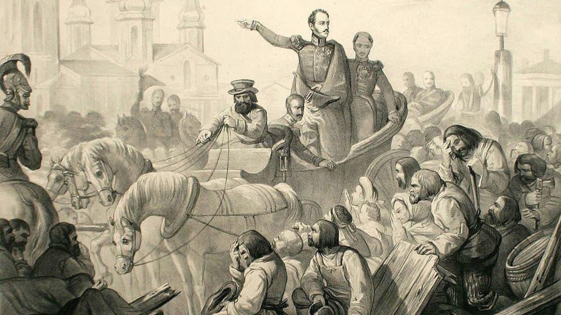 رسم تخيلي يجسد القيصر الروسي نيقولا الأول أثناء محاولته تهدئة الأمور بسانت بطرسبرغ