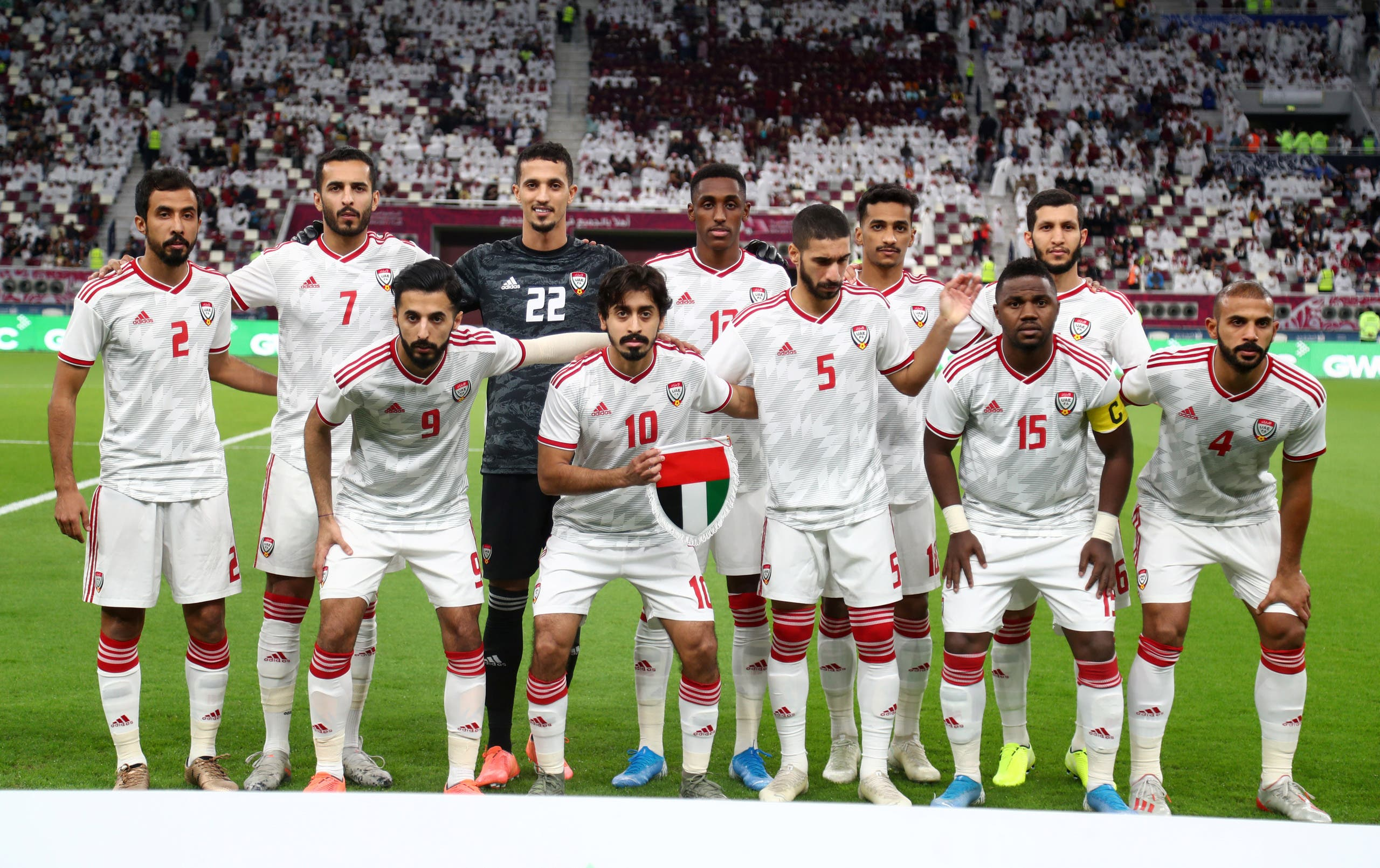 The UAE national football team before the game against Qatar on December 2, 2019. (Reuters)