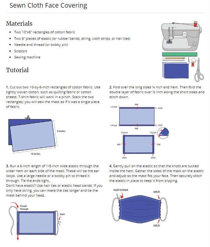 How to sew a cloth mask. (CDC)
